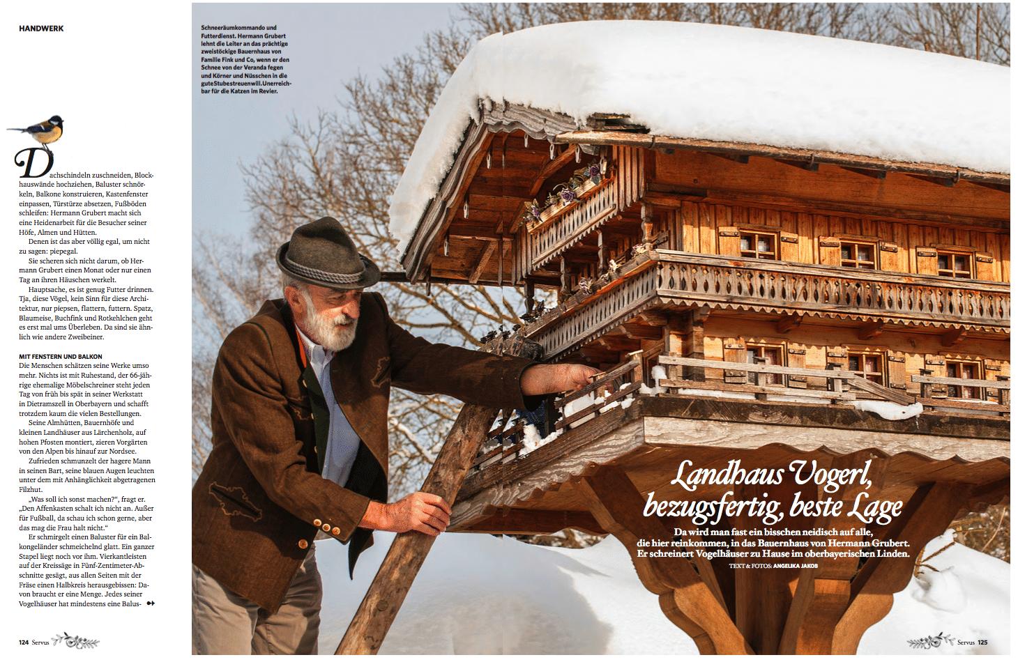 Servus magazin vogelhaus vogelh uschen aus meisterhand for Luxusvilla bauen